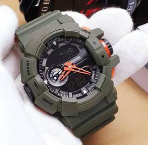 Armee-Grün-Gummibügel-Sport-Uhr-wasserdicht schwarzes Gold Herren Sport-Digital-Uhr-Großverkauf Neuer Verkauf Wecker Geschenk mit Kästen