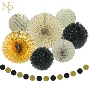 Nicro 8 pcs ano novo misto de ouro preto branco partido papel flor lanterna borla guirlanda diy baptismo partido fontes decorativas