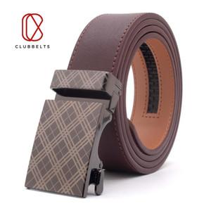 Clubbelts Men's Leather Ratchet Belt With Tartan Automatic Buckle Genuine Leather Belts For Men