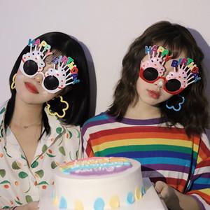 DHL 4 Renkler Tatlı Krem Birthday Cake Şeklinde Gözlük Gözlükler Doğdun Partisi Kostüm Yenilik gözlükleri Yana