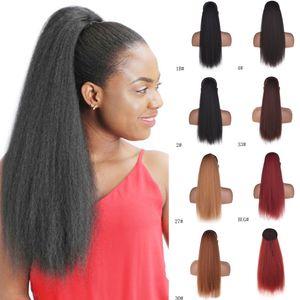 Uzun İpli Mısır Saç At Kuyruğu Uzatma 22 Inç Bouffant Sentetik Afro Kinky Kıvırcık Saç Parça Kadınlar için Siyah Kahverengi Renk