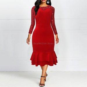 Frauen-elegante Pailletten Trompete-Nixe-Kleid mit Rüschen dünner langen Partei-Kleid Falbala fester roten Herbst OL Kleid Patchwork Vestidos