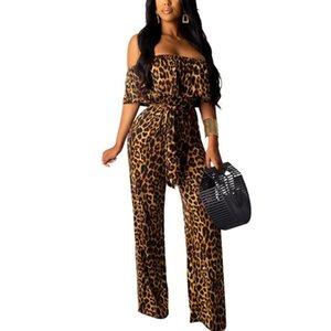 Women Summer Beach Bodysuit Sexy Off Shoulder Short Sleeve Leopard Print jumpsuits Romper Women Club Party Jumpsuit With Belt