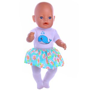 Doll Clothes Cute Whale Series Clothes Dress Suits Panties For 18 Inch American Doll &43 Cm Born Doll For Generation Girl`s Toy