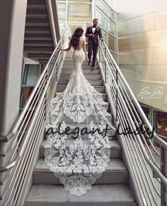 Keyhole Back Mermaid Beach Wedding Dresses 2020 Sweetheart Lace Applique Cathedral Train Trumpet Boho Holiday Bride Wedding Gown
