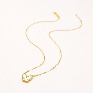 Caliente de la cadena de Corea del suéter de Rose plateó el collar pendiente de la suerte de mariposa de cristal con cadena larga de la joyería del collar pendiente animal Collar