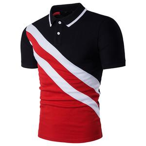 2019 новый мужской рубашки поло мода классический с короткими рукавами повседневная рубашка поло мужские красный черная полоса дизайнер рубашка поло 2XL