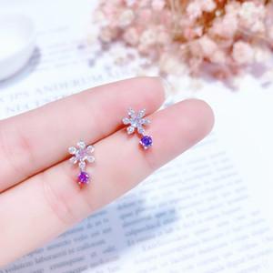 MENGJIQIAO 2018 New Empfindliche glänzende Zircon Snowflake-Bolzen-Ohrringe für Frauen arbeiten Kristall Boucle d'oreille Weihnachtsgeschenk