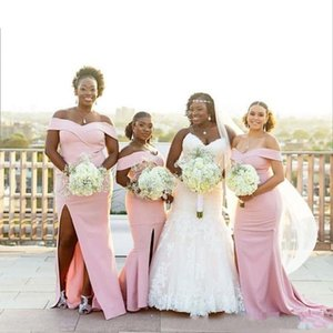 Pink Satin African Bridesmaid Dresses Sexy Off Shoulder Maid Of Honor Dresses Split Mermaid Wedding Guest Party Dress Plus Size