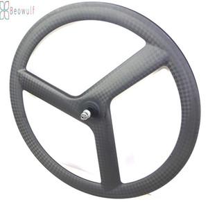 700C 도로 자전거 Tri-Spoke Carbon Wheels Track Wheelset Road Clincher 관상 자전거 3 스포크 고정 기어 림
