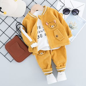 New Children Clothing Sets 1 2 3 4 Years Toddler Boy Girl Autumn Fashion 3PCS Suit for Boys Coat + T Shirt + Pants