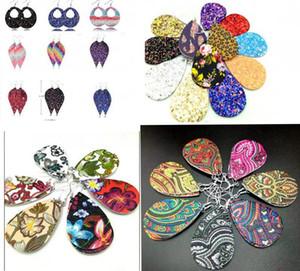 Nuovo cuoio Teardrop Faux PU orecchini Paillettes Looking più di 20colors Vari orecchini di goccia dell'acqua