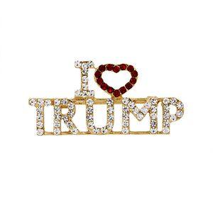 Accessori di moda lega strass Corpetto glitter Lettera di I Love Trump perni portatile del seno di colore dell'oro Lapel Badge Gioielli 3 8md J1