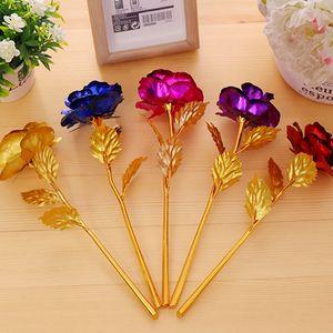 24k Altın Folyo Kaplama Rose Gold Düğün Dekorasyon Golden Rose Dekor Çiçek artificiales para decoracion ücretsiz nakliye flores gül