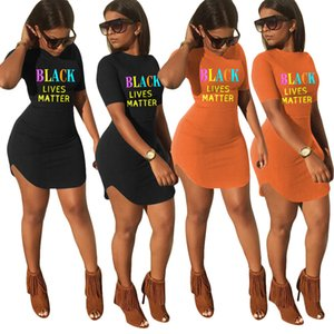 BLACK LIVES LETTER Print Slim Fit Wrap Hip Casual Dress Short Sleeve Bodycon Dresses Ladies Summer