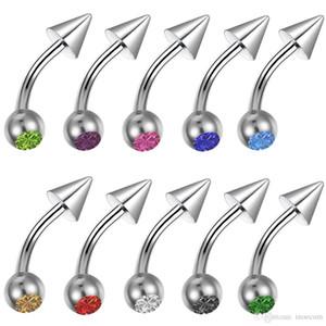 120 adet / grup Kavisli Belly Button Yüzükler Kulak Kıkırdak Helix Tragus Piercing Burun Halkası Dudak Kaş Piercing Endüstriyel Halter Vücut Takı