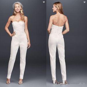 Nuevos monos de encaje boho vestidos de novia ilusión sexy blusa mancha cremallera espalda vestidos de novia de playa simple árabe vestidos de novia