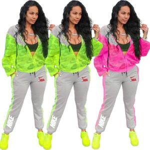 donne della stampa della lettera di modo tute jacket + pants insieme a due pezzi sexy Streetwear vestiti di sport Plus Size Abbigliamento Donna