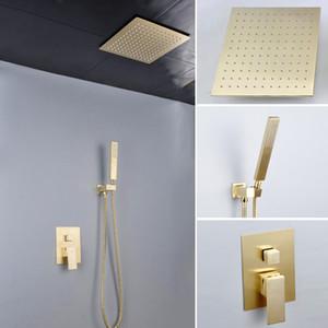 """Salle de bains de luxe Matt Golden Shower System Set Peau de douche à effet de pluie dissimulé au plafond Panneau de douche chaude et froide 12 """"300x300mm"""