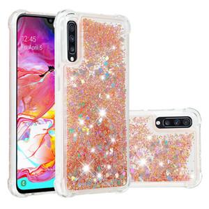 Für samsung galaxy a70 stoßfest silikon abdeckung für samsung galaxy a50 case dynamische glitter flüssigkeit quicksand case a20 a30 funda