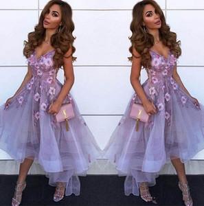 Лаванда V шеи тюль линия вечер Homecoming платья арабский шнурка Аппликация Высокая Низкая принцесса Короткие Пром партии Выпускные платья