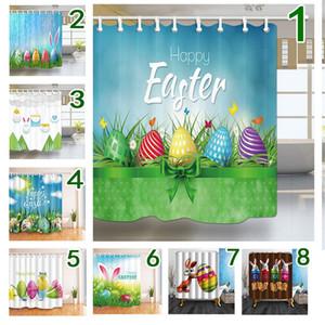 부활절 샤워 커튼 3D Easters 폴리 에스테르 방수 부활절 커튼 180 * 180cm 부활절 토끼 욕실 샤워 커튼 장식