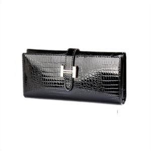Coccodrillo modello pelle bovina portafoglio femminile genuino sacchetto di denaro in pelle borsa del telefono lungo portafoglio sottile donna portafogli con titolare della carta Y19051702