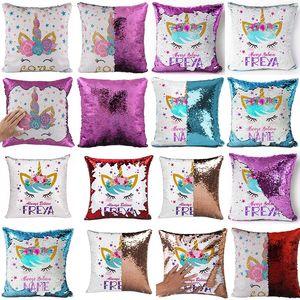 Reversible Unicorn Sequin Pillow Case animal Mermaid Pillow Cover Throw Cushion Case Decorative Home Office Sofa Square Pillowcase drop ship