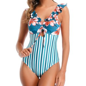 Sexy rayé Ruffle One Piece Maillot de bain femme Maillots de bain été Backless Beachwear Patchwork Maillot de Bain Femme Maillots de bain monokini