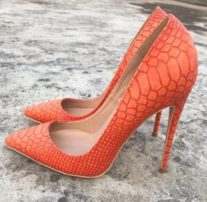 Yeni Moda Marka Kadınlar Turuncu Yılan Derisi Sivri Yüksek topuklu ayakkabılar, lüks 12 cm Stiletto Topuk Sığ ağız Elbise Ayakkabı 10 cm 8 cm kadınlar için