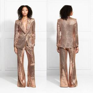 Gül Altın 2020 Abiye Payetli anne gelin takım elbise Slim fit elbiseler Bayanlar Parti balo düğün Için giymek (ceket + pantolon)