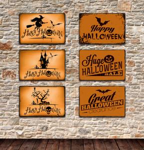 6styles هالوين تين علامات اليقطين خمر ريترو جدار الفن TIN SIGN ستريت اللوحات الحديد الرسم بار حانة مطعم ديكور المنزل 20 * 30 FFA2937