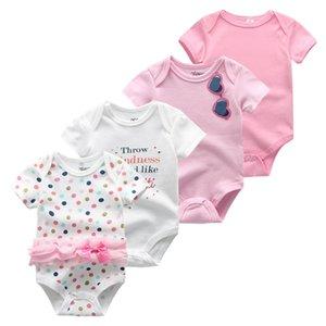 4pcs / lot unisex Ropa del bebé recién nacido Unicorn Baby Body ropa de la muchacha Ropa bebe vestido del algodón del bebé de la manga corta de las muchachas