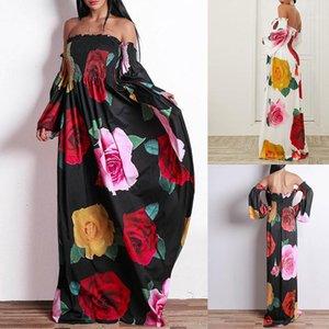 Дизайнерские платья Разрез шеи плеча Сыпучие Лето Макси платья высокой талией с длинным рукавом Фитнес партии Vacation платья Rose Цветочные женщин