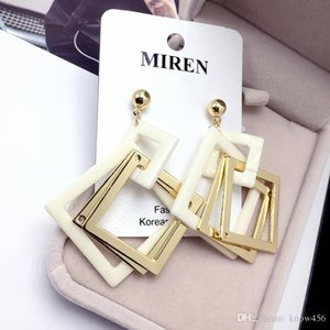 Fashionable and long style earring female geometry multi-layer square exaggerated eardrop super fairy face thin ear nail