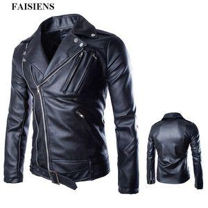 FAISIENS Herbst-Winter-Kunstleder Herren Jacken Bomber PU Black Metal Jacken Zipper Male Fashion Street Plus Size 5XL Mantel