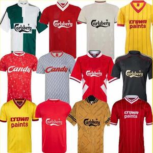 camisetas de fútbol retro clásico de la casa en vivo Gerrard 8 terciopelo tridimensional font 2004 camisetas de fútbol campeón de 2005 Estambul finales