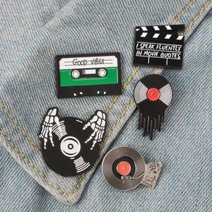 Punk amantes de la música Broche de buen rollo de cinta del vinilo de DJ Tocadiscos insignia broche pines de solapa camisa de los pantalones vaqueros fresco del regalo de la joyería gótica