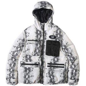 Kış Kalın Sıcak Kapşonlu Ceket Parka Çoklu Fermuar Yılan Python Cilt Baskı Ceket Parka Erkekler WINDBREAKER Streetwear Coats Cepler