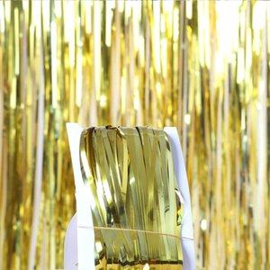Hochzeitsdekoration Kulisse Folie Regen Vorhang Tinsel Kinder Erwachsene Photo Booth-Geburtstags-Party Vorhänge Babyparty-Partei-Dekoration