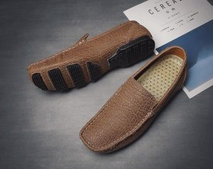 Fashion men Shoes sewing Casual genuine leather Flat Mens Loafer Shoes Custom Bespoke Slip-On Brand Footwear Male