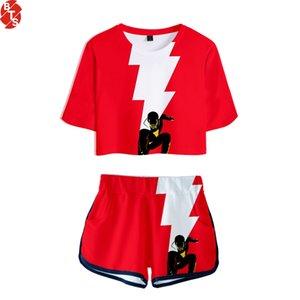 2019 Shazam! Conjunto de dos piezas de dos piezas impresas en 3D Summer Short Sleeve Crop Top + Shorts harajuku Streetwear Ropa