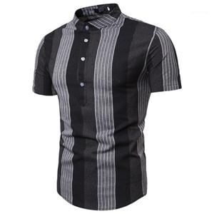 Designer Fashion Imprimé Polos manches courtes rayé Tops Col Stand Casual Summer Mens Polos