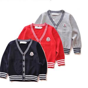 UJJ22 dış giyim Yeni Çocuk kazak 3 renk Sonbahar Çocuk Polo hırka Coat Bebek Boys Kız tek sıra düğmeli ceket Kazaklar