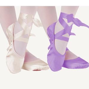 Rosa albaricoque púrpura lona rojos zapatos de baile de ballet dividieron única de gamuza niños 23-30 deslizadores de los niños