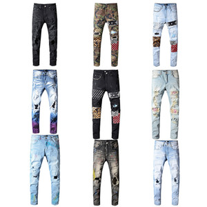 TOPO! Atacado clássico Miri Hip Hop Calças Jeans Calças Designer Aquaman magro dos homens Hetero motociclista magros Fenda Jeans Homens Mulheres Ripped Jeans