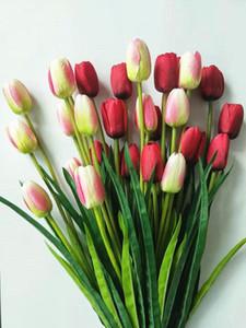 5pcs 3 Tête Tulip Fleurs artificielles Décoration de mariage mariée Simulation bouquet soie Calla Lily jardin Florale