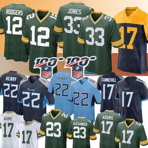Ucuz Tennessee # Titan 22 Derrick Henry Jersey 12 Aaron Rodgers Green Bay Erkek Packer Formalar Davante Adams Aaron Jones Jaire Alexander