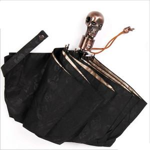 Creativo diavolo del cranio Handle Umbrella completamente automaticlly Male 3 pieghevole UV dom Pioggia Maschio antivento Ombrelli ingranaggio della pioggia T200117