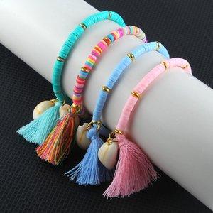 Bohemian оболочки браслет национальный стиль кисточкой браслет красочный мягкий керамика очарование Wristlet для леди девочек партия выступает T2C5240